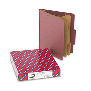 Smead Pressboard Classification Folders, Self Tab, Letter, Six-Section, Red, 10/Box at Sears.com