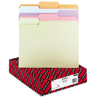 Smead File Folders, 1/3 Cut Top Tab, Letter, Assorted Colors, 100/Box at Sears.com