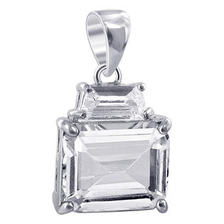 Gem Avenue TDPS006-C Nickel Free Sterling Silver Clear CZ Emerald Cut Baguette Pendant at Sears.com