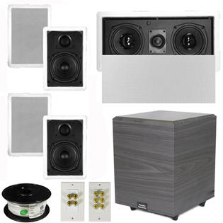 Theater Solutions 5.1 Home Audio Speakers 4 Speakers, 1 Center, 8&amp;#34; Powered Sub and More TS50WL51SET2 at Sears.com