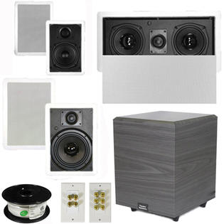 Theater Solutions 5.1 Home Theater 4 Speakers Set with Center, 8&amp;#34; Powered Sub and More TS5W6WL51SET2 at Sears.com