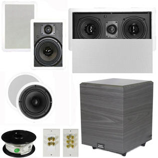 Theater Solutions 5.1 Home Theater 6.5&amp;#34; Speakers Set with Center, 8&amp;#34; Powered Sub and More TS65CWL51SET2 at Sears.com