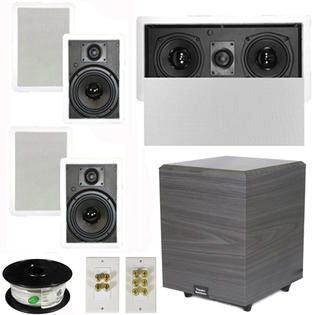 Theater Solutions 5.1 Home Theater 6.5&amp;#34; Speakers Set with Center, 8&amp;#34; Powered Sub and More TS65WL51SET2 at Sears.com