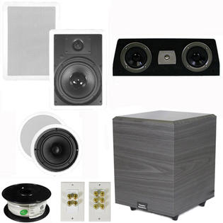 Theater Solutions 5.1 Home Theater 8&amp;#34; and 6.5&amp;#34; Speakers Set with Center, 8&amp;#34; Powered Sub and More TS6C8WC51SET2 at Sears.com