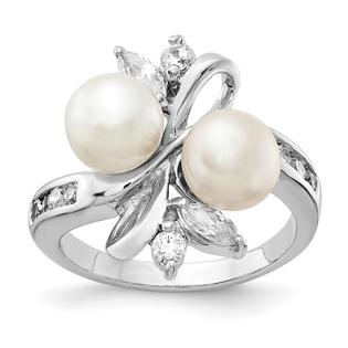 Jewelry Adviser rings Sterling Silver CZ White Cultured Pearl Leaves Ring Size 8 at Sears.com