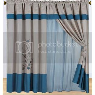 Grand Bedding Floral Embroidered Blue and Beige Curtain Set w/ Valance/Sheer/Tassels at Sears.com