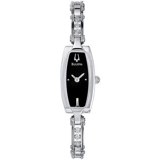 Bulova Women Bulova 96T15 Dress Stainless Steel Crystal Link Bracelet Black Slim Dial at Sears.com
