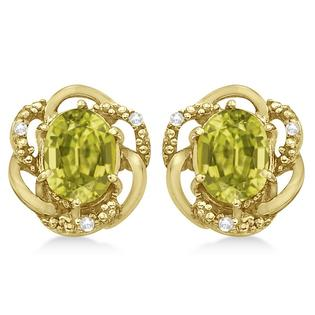 Allurez Oval Lemon Quartz and Diamond Earrings in 14K Yellow Gold (3.05ct) at Sears.com