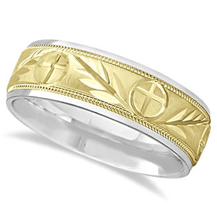 Allurez Men&#039;s Christian Leaf and Cross Wedding Band 14k Two Tone Gold (7mm) at Sears.com