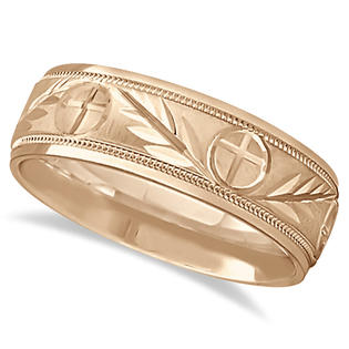 Allurez Men&#039;s Christian Leaf and Cross Wedding Band 18k Rose Gold (7mm) at Sears.com
