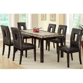 Bobkona 6 Seater Faux Marble Top Dining Table w/ Chairs .
