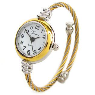 Geneva 2Tone Gold Silver Geneva Cable Band Ladies Bangle Cuff Watch