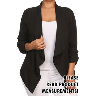 Womens Plus Size Semi-Sheer Blazer Asymmetrical Open Front Fold Over Lapel Jacket PartNumber: 000000000000101425670000000000000000911VP