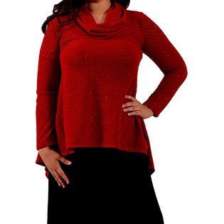 Women's Plus Size Cowl Neck High Low Hem Dressy Sparkle Sweater Tunic Top PartNumber: 0000000000001014256700000000YPT5708YummyP