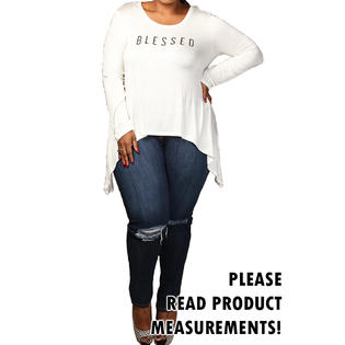 curvyluv.com Women's Plus Size Blessed Long Sleeve Top Text Print Blouse Curvy Fit Casual Tee PartNumber: 000000000000101425670000000000000QU70102P