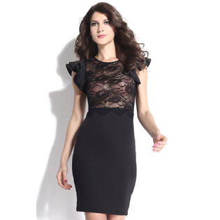 Jhon Peters JHONPETER WOMEN SHORT SLEEVES ROUND NECK LACE DRESS BLACK 11f6aa1e9