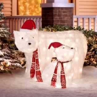 NORTHERN LIGHT (2) Furry 3D LED Polar Bear Family Christmas Yard Sculptures