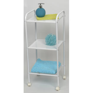 EVIDECO Storage Rolling Cart 3-tier Metal White 28
