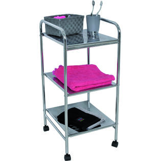 EVIDECO Utility Storage Rolling Cart 3-tier Metal Chrome 28