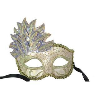 KBW Leaf Cascade Venetian Mardi Gras Mask - Purple/White/Brown/Gold