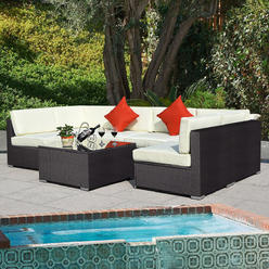 Goplus Outdoor 7pc Furniture Sectional Pe Wicker Patio Rattan Sofa Set Couch Brown