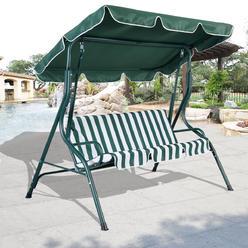 Goplus Patio Swing Outdoor Canopy Awning Yard Furniture Hammock Steel Green