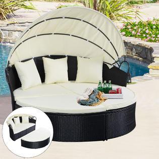 Round Retractable Canopy Outdoor Patio Sofa