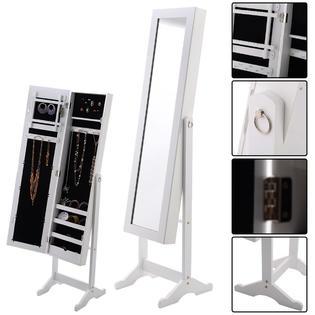 Goplus New Mirrored Jewelry Cabinet Armoire Mirror Organizer Storage