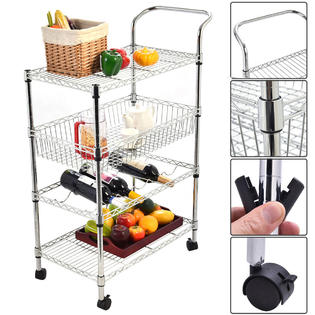 Goplus 4-Tier Steel Rolling Kitchen Trolley Cart Island Wire Rack Basket Shelf Stand PartNumber: SPM14733174224