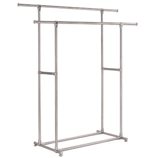 goplus heavy duty stainless steel double rail garment rack clothes drying hanger new