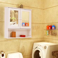 Goplus New Bathroom Wall Cabinet Double Mirror Door Cupboard Storage Wood Shelf White