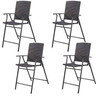 Goplus 4 PCS Folding Rattan Wicker Bar Stool Chair Indoor U0026Outdoor Furniture  Brown New