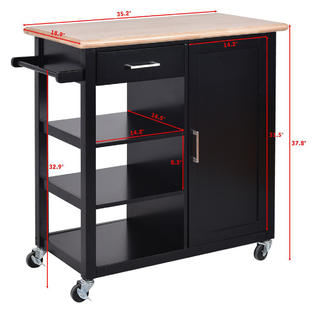 Costway 4 Tier Rolling Wood Kitchen Trolley Cart Island Storage Cabinet  Shelf Drawer New