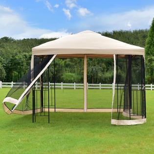 Goplus 10u0027x10u0027 Gazebo Canopy Shelter Patio Wedding Party Tent Outdoor Awning W/ & Gazebo With Mosquito Net