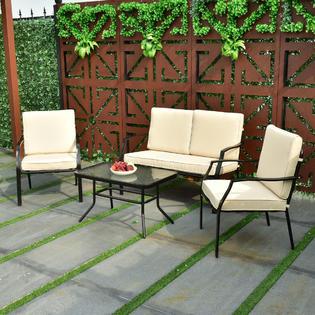 Goplus Goplus 4 Piece Patio Furniture Sofa Set Coffee Table Chairs Backyard Garden Patio Pool & Goplus HW56157 4 Piece Patio Furniture Sofa Set Coffee Table Chairs ...