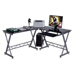 Goplus L Shape Computer Desk PC Glass Top Laptop Table Workstation Corner  Home Office