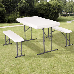 Merveilleux Goplus Table And Benches Set Chair Seat Folding Picnic Patio Garden Outdoor  Furniture