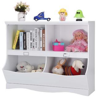 Goplus Children Storage Unit Kids Bookshelf Bookcase White Baby Toy Organizer Shelf