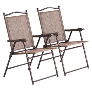 Pleasant Goplus Goplus Set Of 2 Patio Folding Sling Back Chairs Camping Deck Garden Beach Brown Gmtry Best Dining Table And Chair Ideas Images Gmtryco