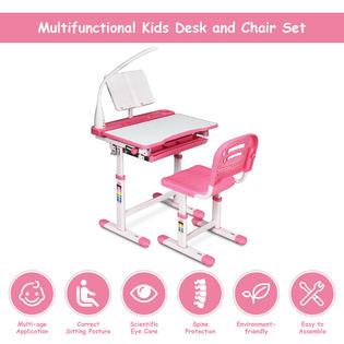 Marvelous Costway Height Adjustable Kids Desk Chair Set Study Drawing Creativecarmelina Interior Chair Design Creativecarmelinacom
