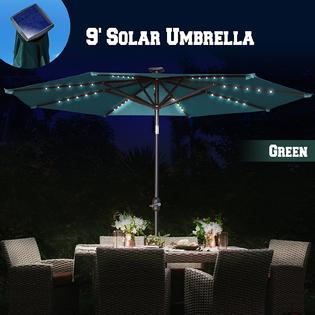 Sunrise Umbrella U253 270 Gre Sunrise Umbrella 9ft Solar Light Patio