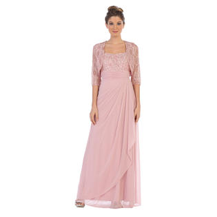 Belle Maids Lace And Chiffon Formal Mother S Gown 3094bm Gold Black Royal Blue