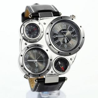 Sondoongmart Men Oulm Military Army Dual Time Zones Big Dial Leather Sport Movements Quartz Wrist Watch Black