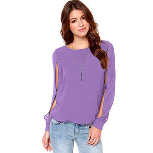 John Peter TomCarry Women's Round Neck Stylish long Sleeves Hollow Out Shirt Lilac PartNumber: 00000000000010155019000000000000TCWSB729P