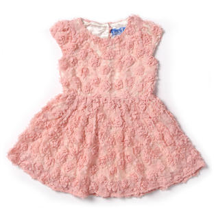 TOMCARRY Kid Girls Cute Flower Hollow Neck Short Sleeves A-Line Swing Party Dress PartNumber: A019898029