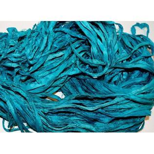 India 100 g Recycled Sari Silk Ribbon Yarn, Aqua Blue for