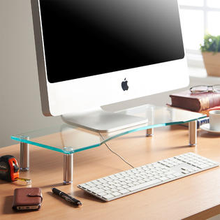 """Curved Glass Monitor Stand - Adjustable Height Multiple Screen Riser for PC Monitors, Computers, Laptops & TVs 22 x 9.5"""" PartNumber: 6NY05-078"""