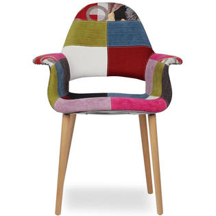Beautiful Homelala Multi Color   Upholstered Organic Arm Chair Armchair Fabric Chair  Patchwork Multi Pattern Light Brown Natural Wood Leg Dining