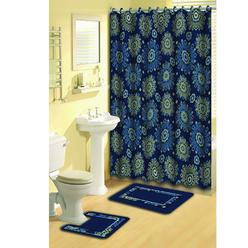 Home Dynamix Bath Boutique 15-Piece Bathroom Rug Set, Shower Curtain & Shower Rings