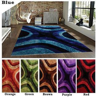 Homemartgoods 5'x8' Feet Modern Contemporary Shag Shaggy Blue Red Orange Purple Green Brown Area Rug Carpet Rug